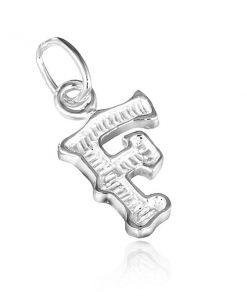 Přívěsek ze stříbra 925 - písmeno F s vroubky
