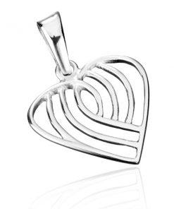 Přívěsek ze stříbra 925 - pruhované srdce