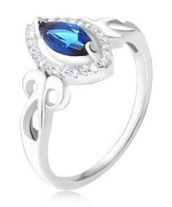 Prsten - modrý zrníčkovitý zirkon