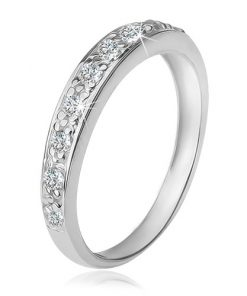 Prsten s čirým zirkonovým pásem
