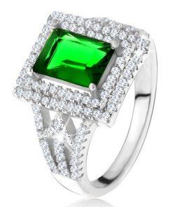 Prsten s obdélníkovým zeleným zirkonem