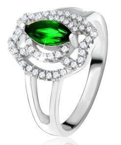 Prsten se zeleným zrníčkovitým kamenem