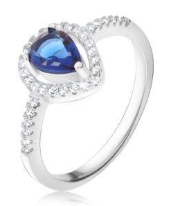 Prsten - tmavě modrý slzičkovitý kámen