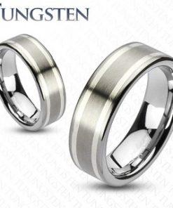 Prsten z karbidu wolframu se dvěma stříbrnými pruhy