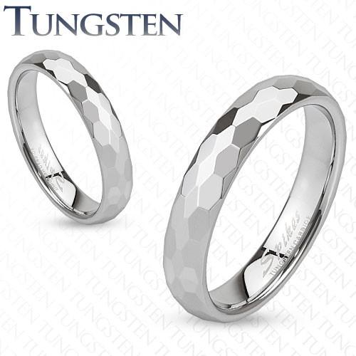 Prsten z wolframu - stříbrná obroučka