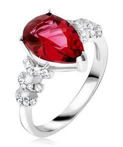 Prsten ze stříbra 925 - červený slzičkovitý kámen