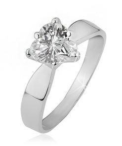 Prsten ze stříbra 925 - čiré zirkonové srdce