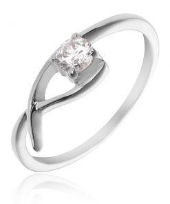 Prsten ze stříbra 925 - jemná smyčka s čirým zirkonem - Velikost: 65