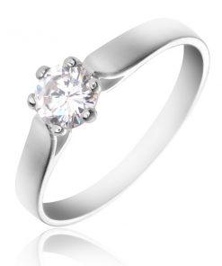 Prsten ze stříbra 925 - ohnutá ramena a kulatý čirý zirkon - Velikost: 65