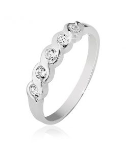 Prsten ze stříbra 925 se zasazenými pěti čirými kamínky - Velikost: 59