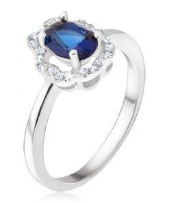 Prsten ze stříbra 925 - tmavomodrý oválný kamínek