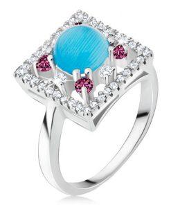 Prsten ze stříbra 925 - zirkonový čtverec