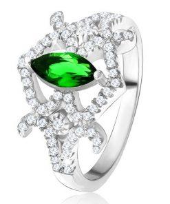 Prsten - zrníčkovitý zelený zirkon