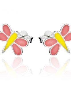 Puzetové náušnice ze stříbra 925 - růžovo-žlutá vážka