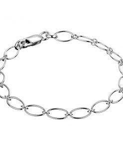 Řetízek na ruku ze stříbra 925 - velké ovály spojené kroužky