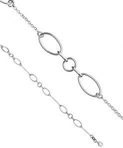 Řetízek na ruku ze stříbra - ovály a kroužky