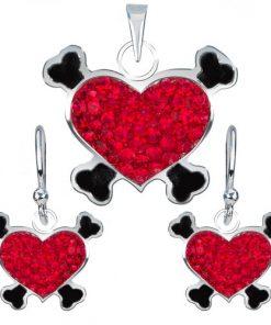 Sada stříbrných 925 náušnic a přívěsku - zirkonové pirátské srdce