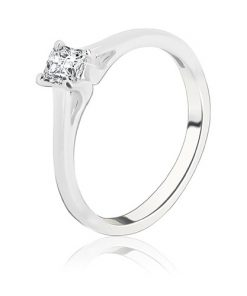 Snubní prsten ze stříbra 925 - čtvercový zirkon s vystouplým uchycením - Velikost: 65
