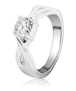 Snubní prsten ze stříbra - kulatý zirkon v proplétaných pásech - Velikost: 65