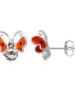 Stříbrné náušnice 925 - 3D oranžový motýl