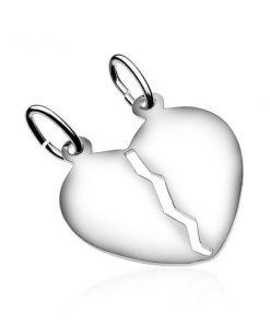Stříbrný dvojpřívěsek 925 - lesklé srdce s výřezem uprostřed