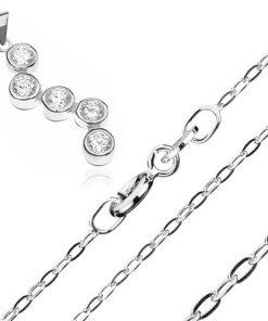 Stříbrný náhrdelník 925 - řetízek a přívěsek s cik cak vzorem ze zirkonů