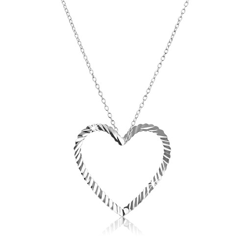 Stříbrný náhrdelník 925 - řetízek s vlnitou konturou srdce