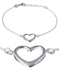 Stříbrný náramek 925 - široká silueta srdce na řetízku