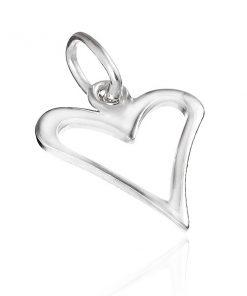 Stříbrný přívěsek 925 - lesklý zúžený obrys srdce