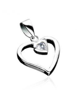 Stříbrný přívěsek 925 - linie srdce se zirkonovým srdcem