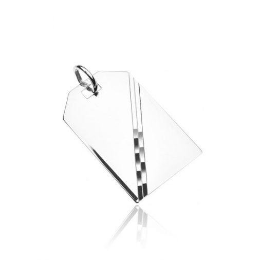 Stříbrný přívěsek 925 - zrcadlově lesklá tabulka s diagonální linií