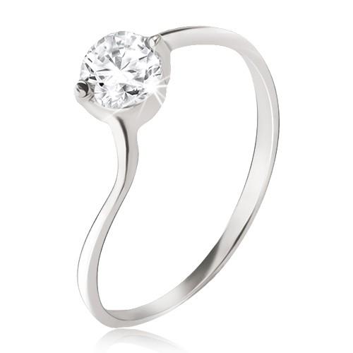 Stříbrný prsten 925 - čirý zirkon v kotlíku