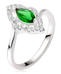 Stříbrný prsten 925 - elipsovitý kamínek zelené barvy