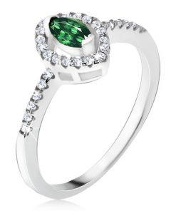 Stříbrný prsten 925 - elipsovitý zelený kamínek