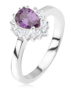 Stříbrný prsten 925 - fialový slzičkovitý kamínek