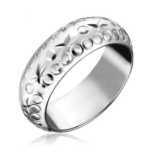 Stříbrný prsten 925 - gravírované hvězdy a kroužky - Velikost: 64