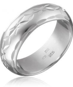 Stříbrný prsten 925 - gravírovaný pás květů s lístky