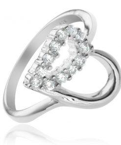 Stříbrný prsten 925 - kontura srdce