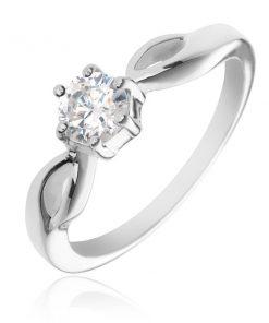 Stříbrný prsten 925 - kulatý čirý zirkon