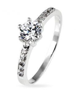 Stříbrný prsten 925 - kulatý zirkon v objímce a zirkonky po stranách - Velikost: 62