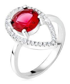 Stříbrný prsten 925 - okrouhlý červený kámen