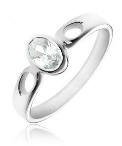 Stříbrný prsten 925 - oválný čirý zirkon