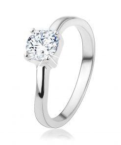 Stříbrný prsten 925 s kulatým čirým zirkonem
