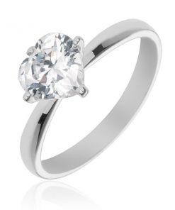 Stříbrný prsten 925 s vystouplým čirým zirkonovým srdcem - Velikost: 65