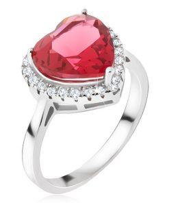 Stříbrný prsten 925 - velký červený srdcovitý kámen