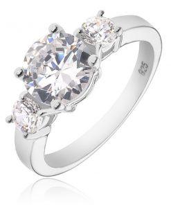 Stříbrný prsten 925 - větší kulatý čirý zirkon a dva menší po stranách - Velikost: 67