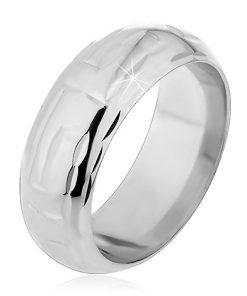 Stříbrný prsten 925 - zářezy ve tvaru L tvořící labyrint - Velikost: 64
