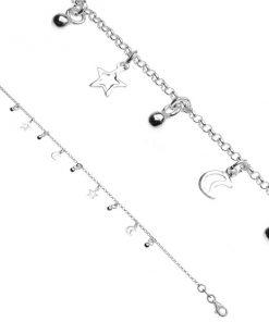 Stříbrný řetízek 925 na ruku - hvězdičky a měsíc