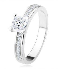 Stříbrný zásnubní prsten 925 - čtvercový zirkon