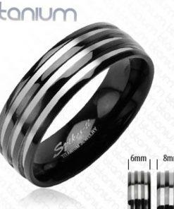 Titanový snubní prsten - se třemi stříbrnými pruhy